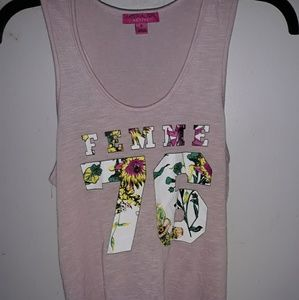 Femme Graphic Knot-Back Tank Top